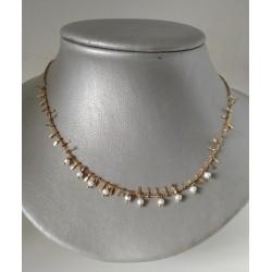 Collar gargantilla en acero perla y palitos