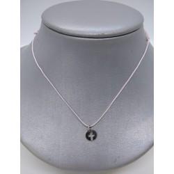 cordoncito ajustable en seda con cierre en plata de Ley y chapa cruz  en plata de ley