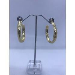 pendientes de aro de acero dorado martillado