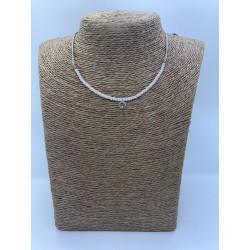 collar de bolitas con cordoncito con bolitas de cristal y brillo al tono